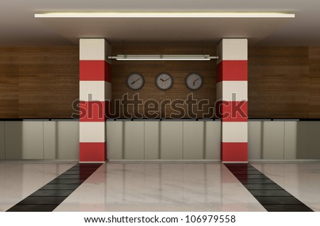 the hotel lobby with a reception desk