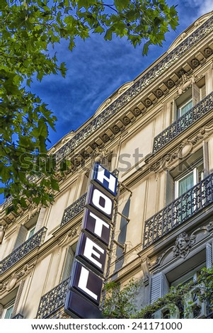 The Hotel sign in Paris. - stock photo