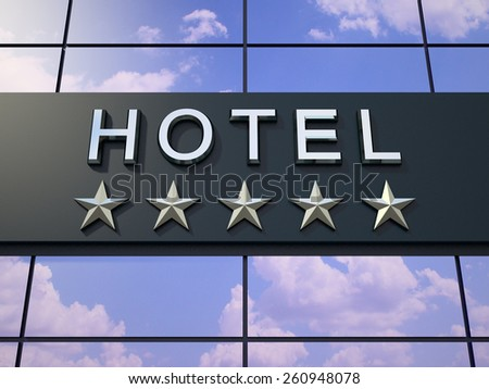 The hotel sign with a five stars on the modern building. - stock photo