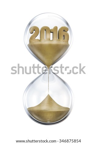 The 2016 hourglass / 3D render of hourglass with year 2016 made of sand - stock photo