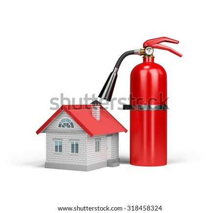 The house and a fire extinguisher, the concept of property insurance against fire. 3d image. White background.