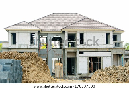 The house construction scenery. - stock photo