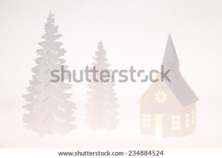 The house from a paper and tree from a paper - stock photo