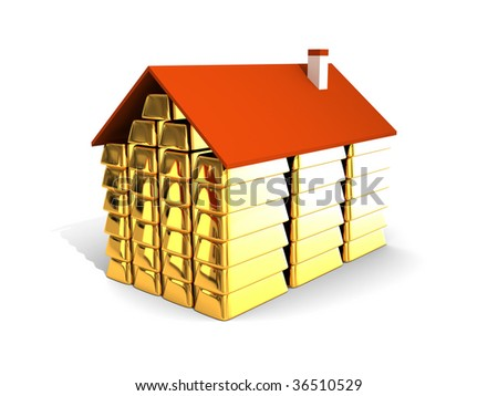 The house from gold ingots - stock photo