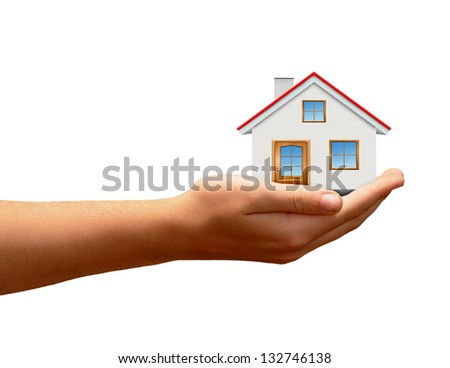 The house in hands isolated on white background - stock photo