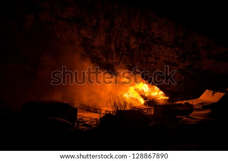 The house is on fire - stock photo
