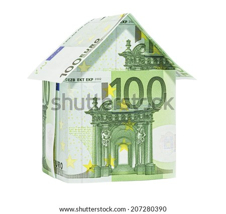 The house made of 100 Euro banknotes, isolated on white. - stock photo