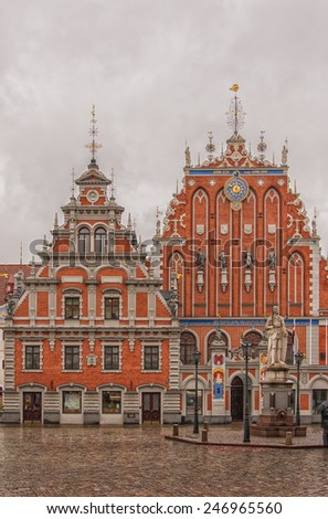 The House of Blackheads In the Latvian capital of Riga. It was originally built in 1344 to house the Blackheads' guild of unmarried foreign merchants. - stock photo