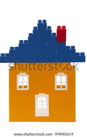 the house of children's toy design on a white background - stock photo