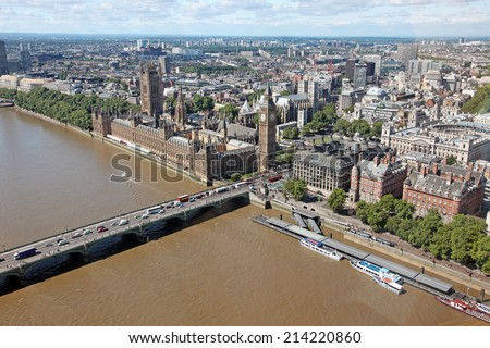 The House of Parliament and Thames river in London, view from London Eye, UK - stock photo