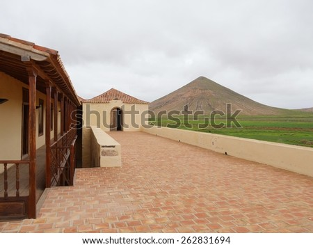 The house of the colonels in La Oliva on the island  Fuerteventura one of the Canary islands in the Atlantic Ocean belonging to Spain Photo taken on 31 January 2015 - stock photo
