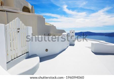 The house on Santorini island, Greece - stock photo