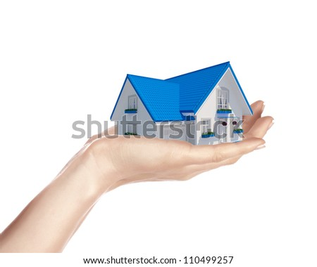 The house with colour roof in human hands