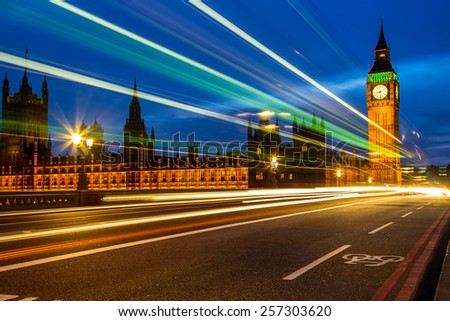 The Houses of Parliament and Big Ben at night