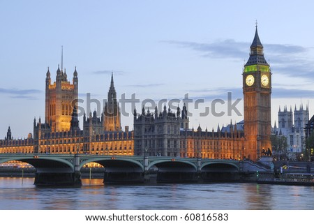 The Houses of Parliament and Big Ben at night - stock photo