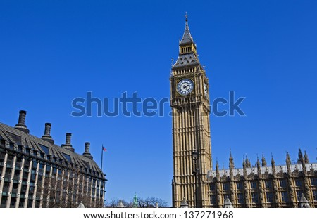 The Houses of Parliament in London. - stock photo