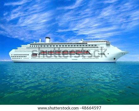 The huge oceanic liner in the high sea