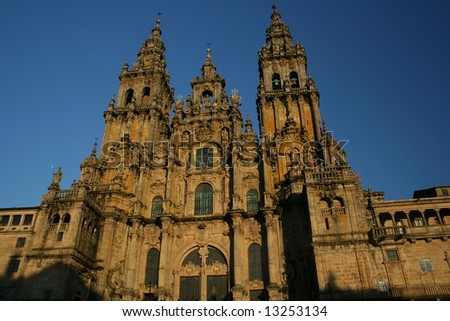 The huge Santiago of Compostela impressive cathedral - stock photo