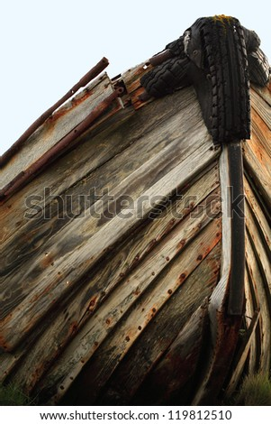 The hull of an old wooden boat hull Iceland - stock photo