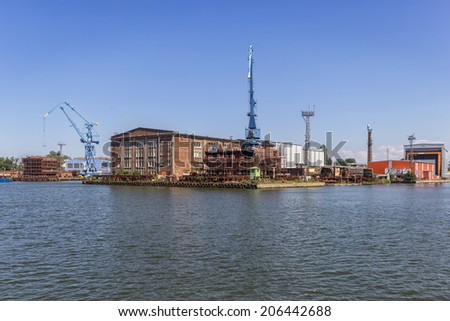 The hull ship built at the yard - stock photo