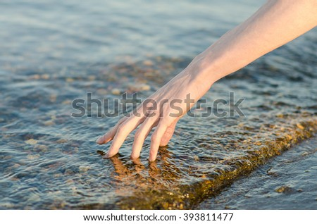 the human hand touches the water in the river