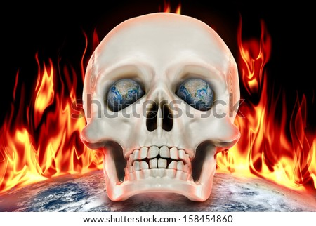 """The human skull on a background of planet earth in fire.""""Elements of this image furnished by NASA"""" - stock photo"""