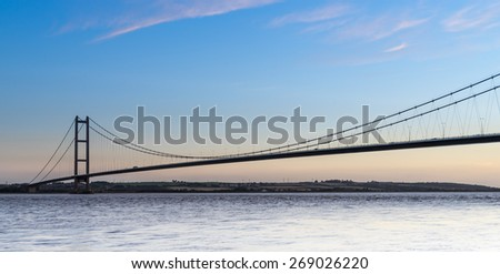 The Humber Bridge at dusk - stock photo