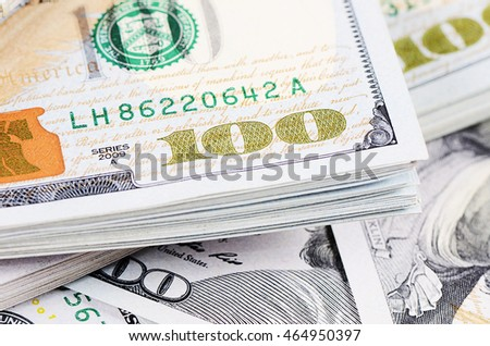 The hundred dollar banknotes as a background