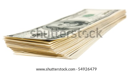 The hundred dollars bundle isolated on white - stock photo