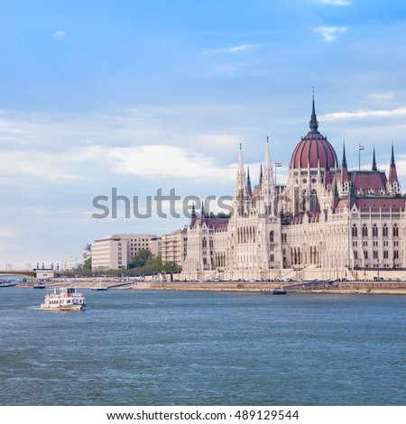 The Hungarian Parliament Building, a notable landmark of Hungary and a popular tourist destination of Budapest.