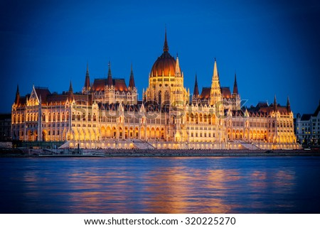 The Hungarian Parliament building at night, Budapest, Hungary - stock photo