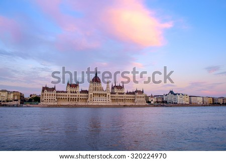 The Hungarian Parliament building at sunset, Budapest, Hungary