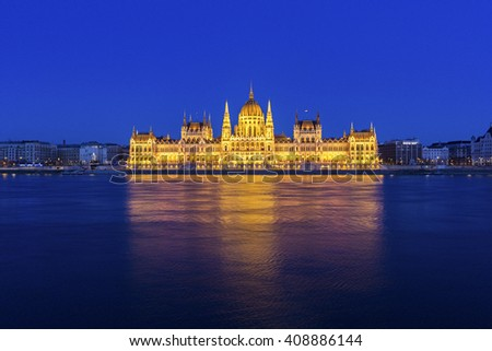 The Hungarian Parliament Building in Budapest in Europe - stock photo