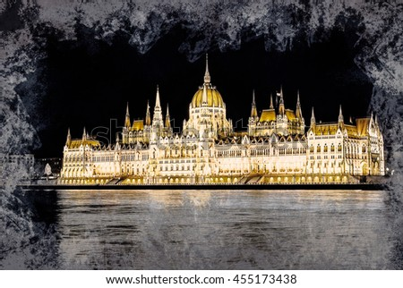 The Hungarian Parliament Building with bright and beautiful illumination at night. Modern painting, background illustration. - stock photo