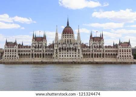 The hungarian parliament in Budapest, Hungary - stock photo