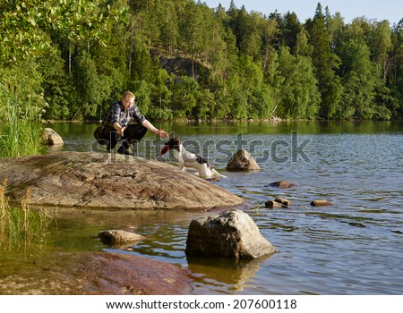 The hunter trains his English Springer Spaniel puppy on the shore - stock photo