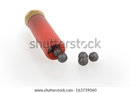 The hunting cartridge with a case-shot charge - stock photo