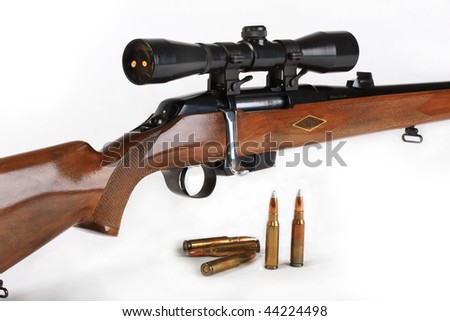 The hunting rifle, calibre 308win, possesses the big destructive power and is intended for hunting for large wild animals - stock photo