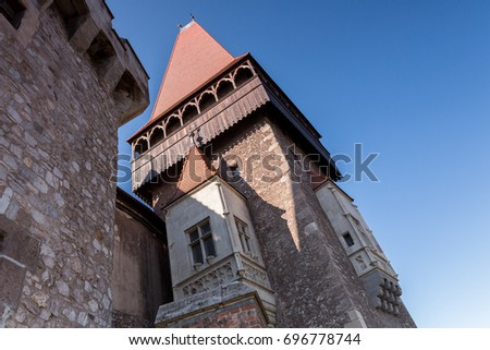 The Hunyad Castle. View of the Medieval Gothic-Renaissance castle in Hunedoara