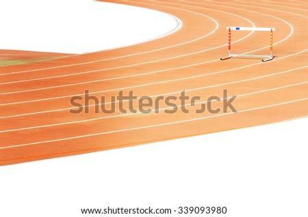 The hurdle on stadium running tracks. Isolated on white background. - stock photo
