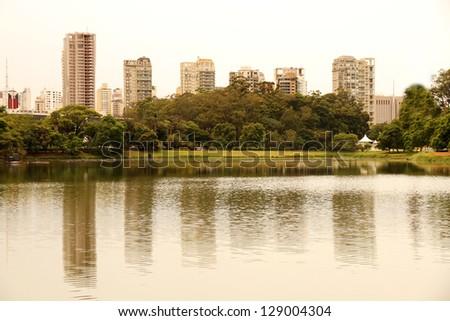 The Ibirapuera Park (Parque do Ibirapuera) in Sao Paulo, Brazil, south america. - stock photo