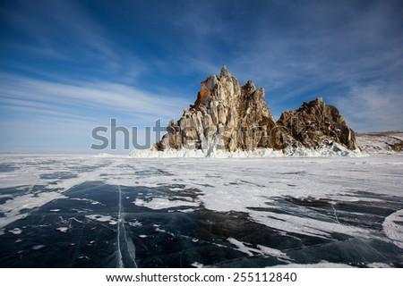 The ice on lake Baikal - stock photo