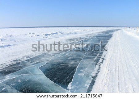 The ice road on the river in the winter