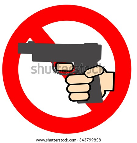 The icon that I am prohibited from the possession of the handgun - stock photo