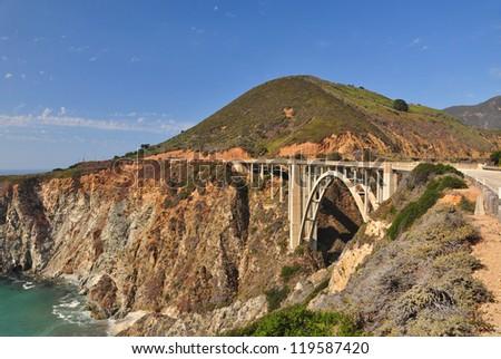 The Iconic Bixby Bridge on Pacific Coast Highway, California - stock photo