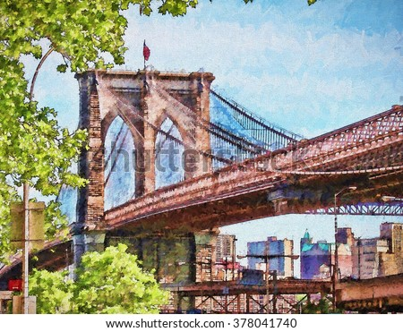 The iconic Brooklyn Bridge of New York City turned into a colorful painting - stock photo