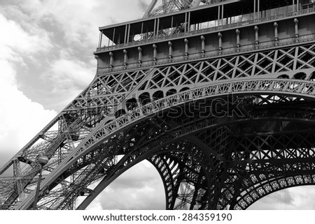 The iconic Eiffel Tower, Paris, France - stock photo