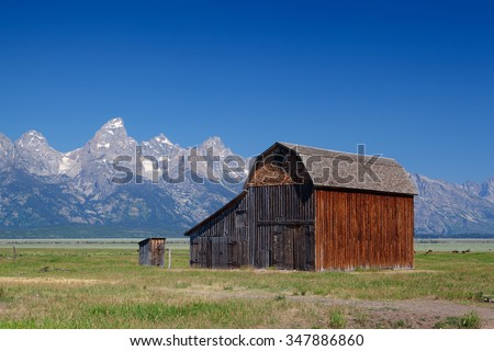 The iconic John Moulton homestead in Grand Teton in Wyoming in USA - stock photo