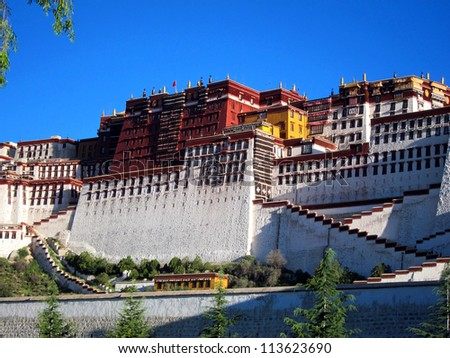The iconic Potala Palace in Lhasa, Tibet - stock photo