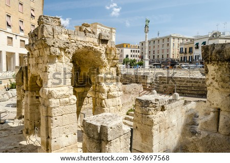 The iconic Roman amphitheatre in Sant'Oronzo square, one of the most visited spots in Lecce, Salento, Apulia, Italy